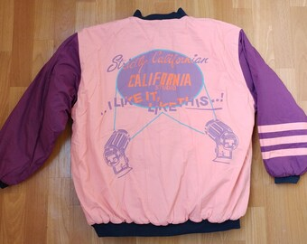 California Los Angeles jacket, vintage coat, 90s hip hop clothing, old school hip-hop jacket, pink college windbreaker, size M Medium