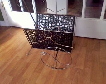 Art Deco Magazine Rack, Metal, Gold and Black, mid century.