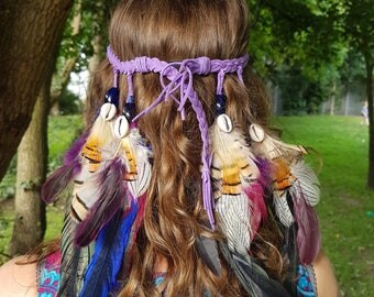 Feather Headdress, Festival Headdress, Native American Headdress, Beads and Goose Feather Headdress, Party and Fancy dress Headdress