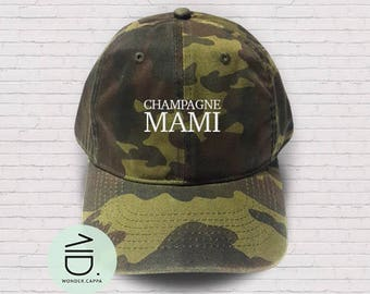 Champagne Mami  Hat Embroidered Cap Denim Unisex Hat Black Color Hat Soldier Cap Tumblr Pinterest