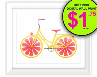 Fruit Bicycle Wall Print, 8x10 Inch, Instant Download, Digital Print