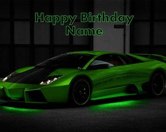 Green Lamborghini Lambo Car Edible Image Cake Topper Personalized Birthday 1/4 Sheet