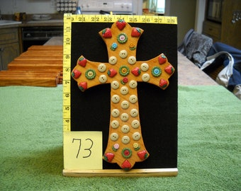 Wooden Cross, Item #73 With Vintage Buttons