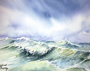 Stormy Seas (print of original watercolour painting)