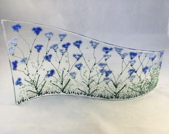 Floral Glass S Curved Plaque, Candle Display with cornflowers,  Fused Glass, Kiln Formed Glass, Home Decor, Gift for her, Birthday Gift