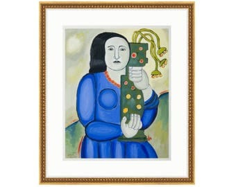 Woman With Vase by Liza Leger aka Liza Cowan. Printed and framed. Three sizes and two frame options. FREE SHIPPING