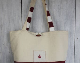 Off white metis canvas and Burgundy white striped cotton canvas tote