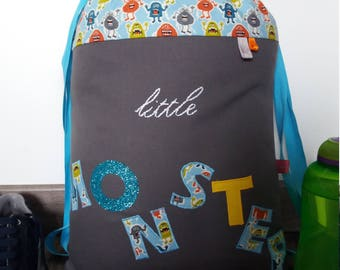 Grey and Blue Boy backpack personalized monsters themed