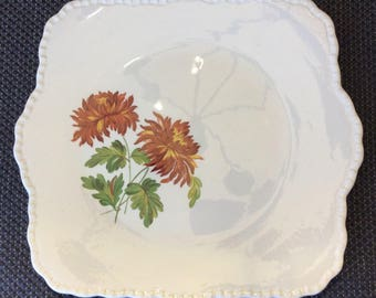Lovely Cream Petal Grindley square cake plate Dallias or Peonies floral  pattern
