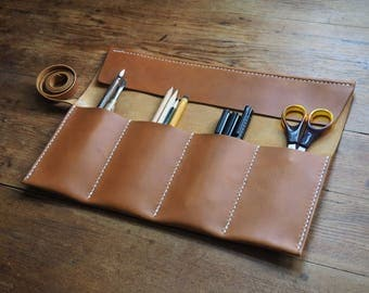 Leather artist roll, leather pencil roll, leather pencil case, leather tool roll case, paint brush holder, leather gift