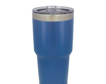 Laser Engraved Polar Camel 30 oz. Blue Vacuum Insulated Tumbler w/Clear Lid