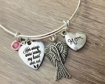 Her Wings Were Ready My Heart Was Not adjustable charm bangle