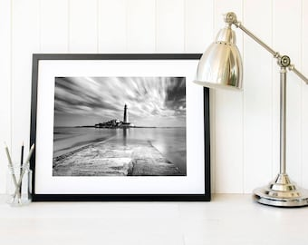 Black and white lighthouse wall art, Minimalist large art, monochrome apartment decor, mood decor, monochromatic home decor, ocean art print