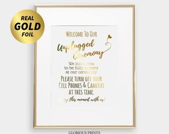 Unplugged Ceremony Sign - Unplugged Reception Sign - Gold Foil Print