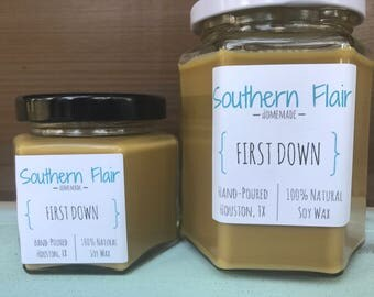 SALE!!! 1.00 OFF First Down - Pure Soy Candle Scented