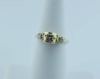 Circa 1940 14K White Gold 3 stone diamond ring, Size 5.75