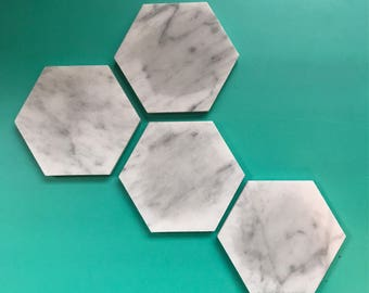 White Marble Coasters // Marble Stone Coasters // Marble Coasters // Marble Home Decor // Marble // Carrara Marble //