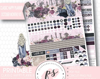 Game of Thrones (GOT) October 2017 Monthly View Kit Printable Planner Stickers (Classic Happy Planner) | JPG/PDF/Silhouette Compatible File