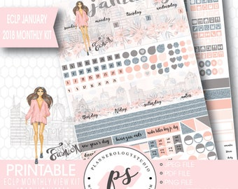 Fashionista January 2018 Monthly View Kit Printable Planner Stickers (for use with Erin Condren ECLP) (JPG/PDF/Silhouette Compatible File)