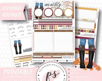 Fall in the Park Monthly Notes Page Kit Printable Planner Stickers (for Erin Condren ECLP) | JPG/PDF/Silhouette Cut File/Blackout Files