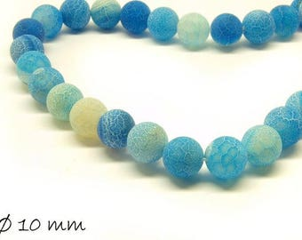 10 pcs matte cracked agate beads, 10 mm, blue dark