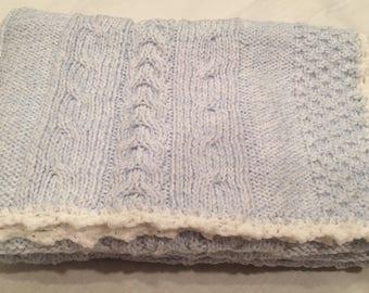 Hand Knit Blue Baby Blanket/Stroller blanket/Crib blanket/Christening/Baby Shower Gift