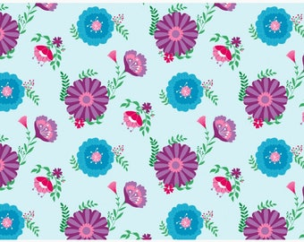 Floral Organic cotton jersey , one unit is 0.5 metre