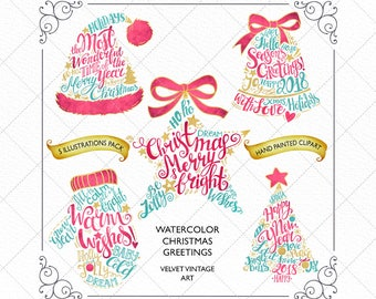 Christmas Clipart, Winter Clipart, Christmas Greetings, Red And Gold Foil Christmas Clipart, Christmas Card, Christmas Planner Stickers