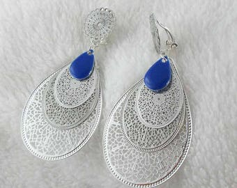 Earrings clips blue matryoshka (made in France)