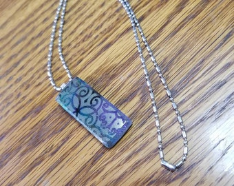 """Gold Mica Shimmer Over Dichroic Fused Glass Pendant with Sterling Silver Bail & 20"""" Stainless Steel Chain"""