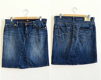 Lady Lee Riders vintage jeans skirt W32 short blue denim sandwash indigo straight cut vintage 1990s size W32 M - L US 10-12