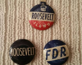 1940's Roosevelt Campaign Political Button and Pins