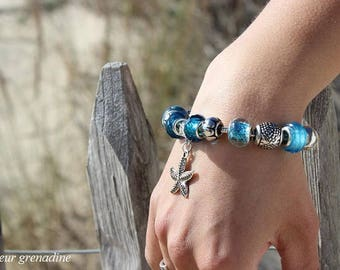 "Bracelet charms ""ocean"" blue sea star, gift idea celebrating the grand mothers, Easter"