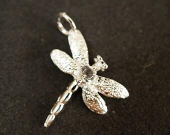 RHINESTONE 925 sterling silver Dragonfly charm pendant