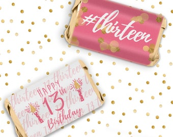 Pink Gold 13th Birthday Candy Wrapper Stickers for Hershey's Miniatures Chocolate Bars - Thirteen - Happy 13th Birthday Teen - 54 Count