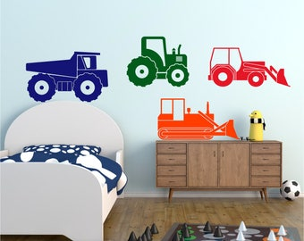 Digger Tractor Dumper Bulldozer Construction 4 PIECE Boys Girls Nursery Bedroom Vinyl Matt Wall Art Sticker Decal Transfer 20 colours