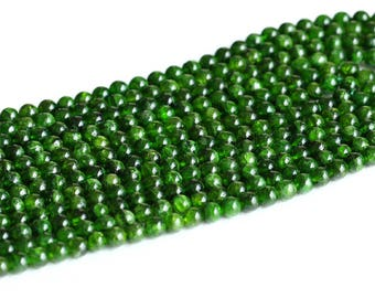 "AAA High Quality Genuine Natural Green Chrome Diopside Alalite Round Loose Beads 3mm 4mm 5mm 6mm 7mm 8mm 9mm 10mm 11mm 12mm 16"" 05019"
