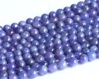 "Natural Genuine Tanzania Blue Purple Tanzanite Round Loose Gemstone Beads 4mm 5mm 6mm 15.5"" 05221"