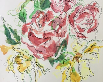 Abstract Botanical Line Painting