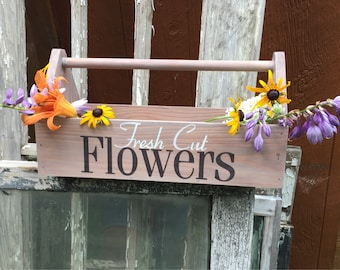 Fresh cut flowers, rustic, farmhouse, wooden tool box in gray white wash