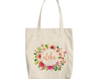 ALOHA TOTE Bag, Resort Vacation Canvas Bag, Beach Tropical Tote, Hawaiian Decor, Floral Wreath Tote, Cotton Tote Resuable Grocery Bag