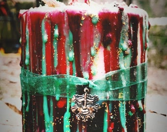 Yule Candle - Spell Candle - Ritual Candle - Pillar Candle - Witchcraft - Wicca - Occult - Magick - Pretty - Drippy - Christmas - Winter -