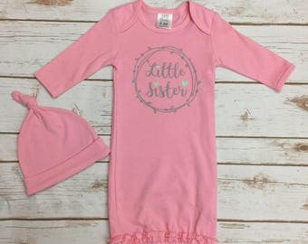 Little Sister Baby Girl Outfits - Baby Girl Going Home Outfit - Newborn Baby Gown - Baby Girl Clothes - Personalized Baby Shower Gift