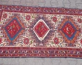 Vintage Anatolian a handwoven Nomad sumak kilim ,area kilim,oriental kilim,silk wool and cotton 41.7''X77.1''inches 106X196 cm