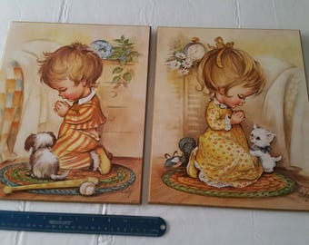 "2 antique 1978 litho art prints signed cody 11""x14"" - little boy and girl bedtime prayers - wall hanging pictures photos antique portraits"
