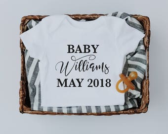 Baby arriving, pregnancy announcement, baby announcement, baby shower gift, baby announcement bodysuit, bodysuit, announcement onesie