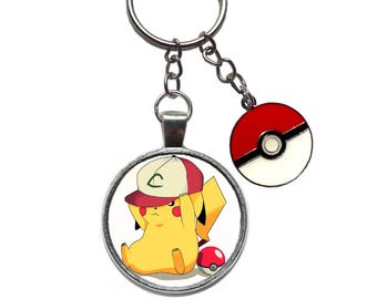 pokemon go anime manga pika katiejays key ring chain keychain katie jays charm figure keyring pikachu pokeball ash ketchum hat