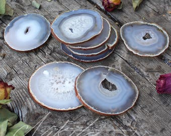 Natural Agate Crystal Coasters with Copper Edge
