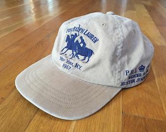 43d6ea037 ... vintage polo by ralph lauren hat khaki navy blue strapback polo hat cap  horse bleeker new ...