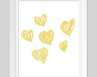 Yellow Crayon Hearts Wall Art  //  Printable Art  //  Wall Decor  //  Home Decor  // Child Print  //  Yellow  // Nursery Print // 4 JPEGs